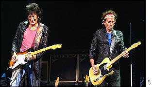 Guitarists Ron Wood and Keith Richards