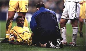 Radebe was injured while playing for Leeds United