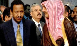Naji Sabri with Sudanese and Saudi counterparts Mustafa Ismail (left) and Prince Saud al-Faisal