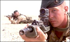 Royal Marine on desert exercise