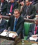 Prime Minister Tony Blair in the Commons