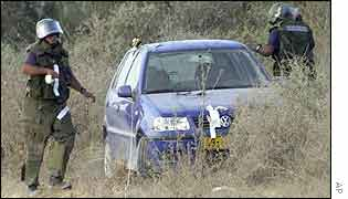 Israeli sappers with suspected getaway car