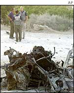Wreckage from car bomb