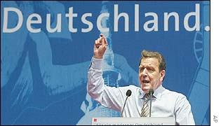 German Chancellor Gerhard Schroeder at an election rally in Hamburg