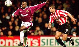 Titi Camara playing for West Ham