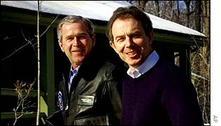 George Bush and Tony Blair at Camp David last year