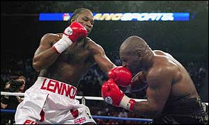 Lennox Lewis on his way to beating Mike Tyson