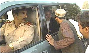 Hamid Karzai in his car seconds before the assassination attempt