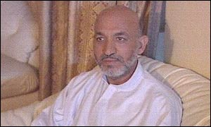 Hamid Karzai speaking to the BBC shortly after the assassination attempt