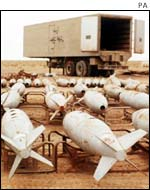 chemical warfare agent filled aerial bombs