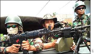 Indonesian military on guard in Aceh, Sumatra