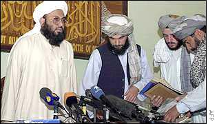 Taleban news conference in September 2001