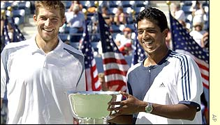 Max Mirnyi and Mahesh Bhupathi celebrate victory in the men's doubles
