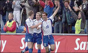 John Petersen celebrates scoring the second of the Faroe Islands' goals