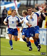 John Petersen celebrates putting the Faroes ahead