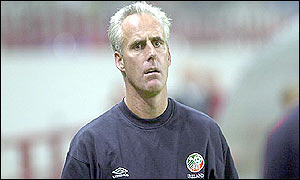 Mick McCarthy looks on in desperation as his team struggle in Moscow