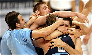 Argentina celebrate their 86-80 win over Germany