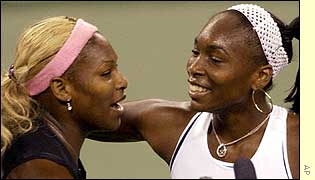 Serena Williams is congratulated by her sister Venus after US Open victory
