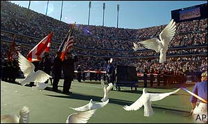 Doves are released before the US Open men's final