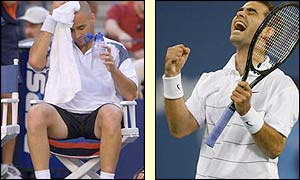Agassi loses his last service game and Sampras takes full advantage
