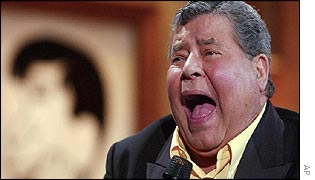 Jerry Lewis at the end of his annual Muscular Dystrophy Association Telethon in Los Angeles, Monday, Sept. 2, 2002