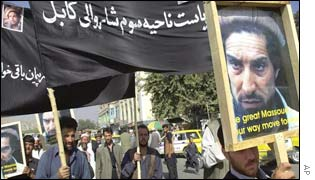 Supporters of the late Ahmed Shah Masood take to the streets of Kabul