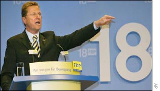 Guido Westerwelle addressing FDP conference on 8th September 2002