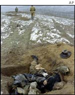 Bodies of Chechen militants near Grozny in January 2000
