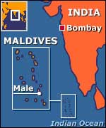 Map showing route between Bombay and Male
