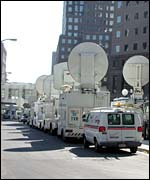 Satellite trucks parked in front of the World Financial Centre