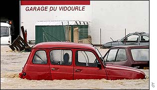 Flooded garage in Sommieres