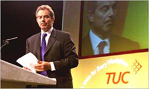 Tony Blair at last year's TUC conference