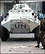 UN vehicle in Freetown