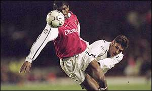 Nwankwo Kanu in action for his club, English Premiership side Arsenal
