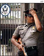 Guard outside US Embassy in Jakarta