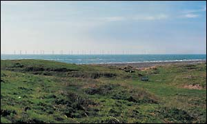 Computer-generated image of the turbines as seen from Walney Island