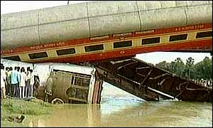Indian train carriage after derailment
