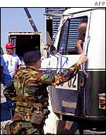Military policeman checks a lorry near the Pentagon