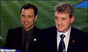 Mark Bowen with Birmingham City manager Steve Bruce
