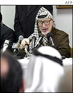 Yasser Arafat at the Palestinian Legislative Council