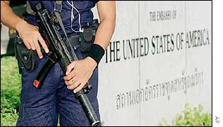 An armed guard outside the US embassy in Bangkok