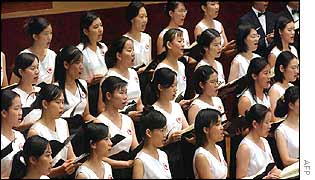 A choir in Taiwan takes part in the requiem for 11 September