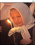 A girl at a Russian memorial service