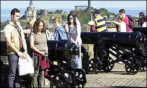 Tourists at Edinburgh Castle
