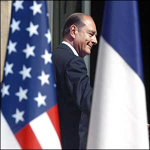 French President Jacques Chirac at the US embassy in Paris