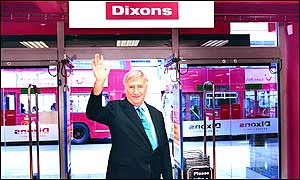 Sir Stanley waving goodbye outside Dixons