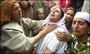 Family grieving at Kashmir funeral