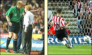 Saints manager Gordon Strachan is sent from the touchline during the first half after rowing with the fourth official but Marion Pahars gives them the points with a penalty kick