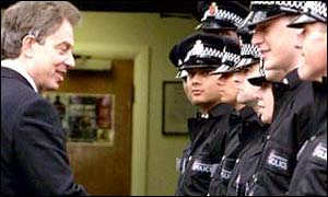 Tony Blair meeting police trainees