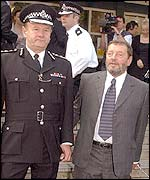 Sir John Stevens (l) and David Blunkett in Wandsworth, London